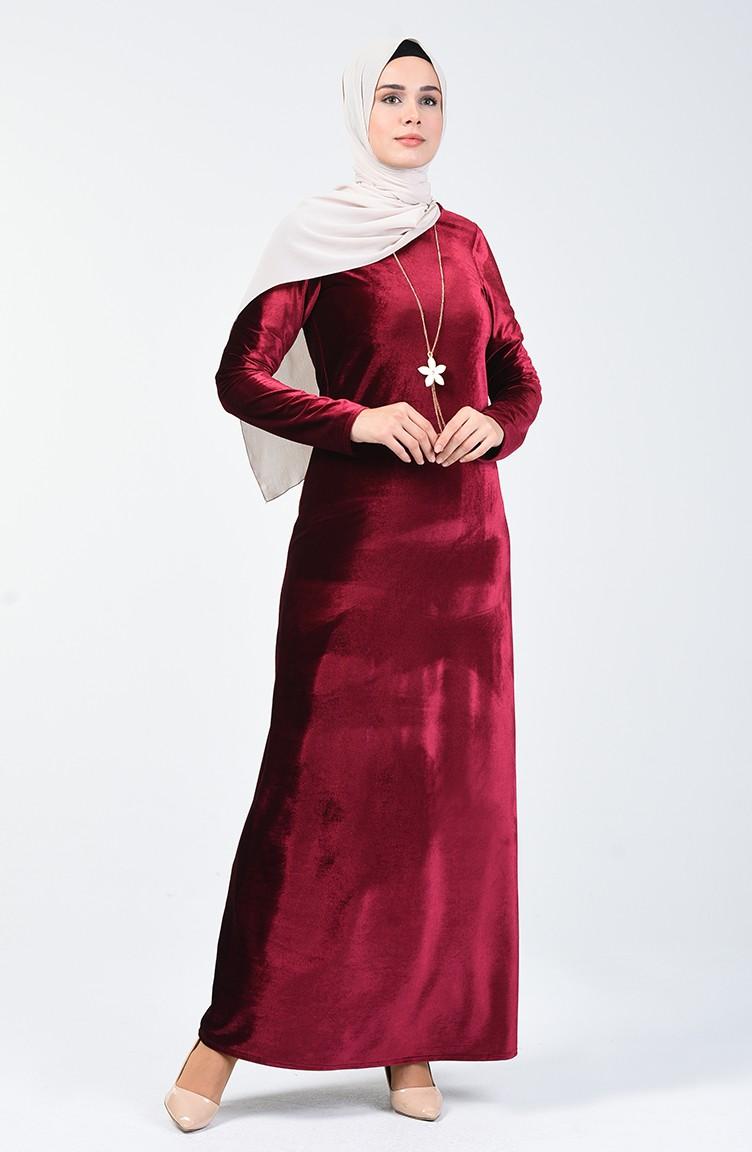 Kleid aus Samt 18-18 Weinrot 18-18
