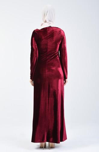 Kadife Elbise 5120-04 Bordo 5120-04