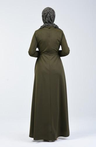 Düğme Detaylı Elbise 1425-01 Haki