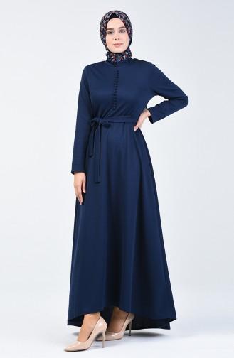 Düğme Detaylı Elbise 1425-02 Lacivert 1425-02