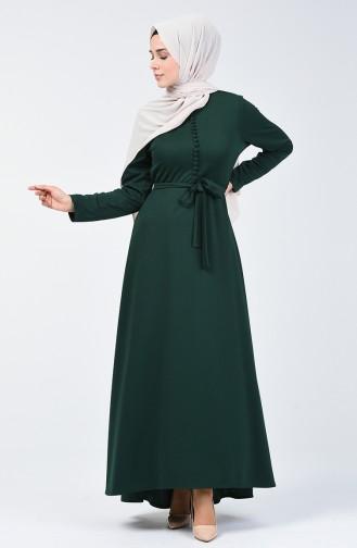 Düğme Detaylı Elbise 1425-04 Zümrüt Yeşili