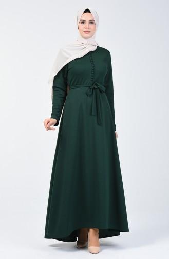 Düğme Detaylı Elbise 1425-04 Zümrüt Yeşili 1425-04