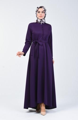Knopf detailliertes Kleid 1425-05 Lila 1425-05
