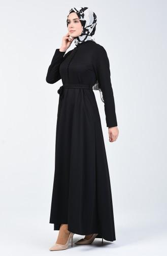 Düğme Detaylı Elbise 1425-06 Siyah