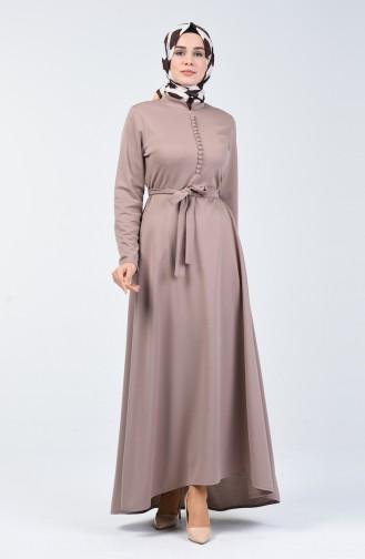 Knopf detailliertes Kleid 1425-07 Nerz 1425-07