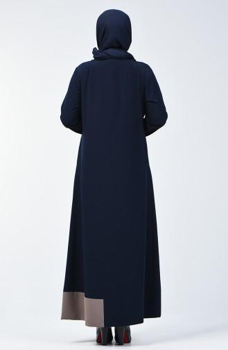 Büyük Beden Fermuarlı Ferace 0129-01 Lacivert