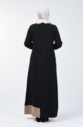 Büyük Beden Fermuarlı Ferace 0129-03 Siyah Vizon