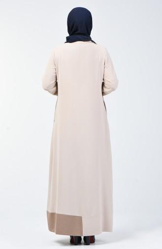 Abaya à Fermeture Grande Taille 0129-06 Beige 0129-06