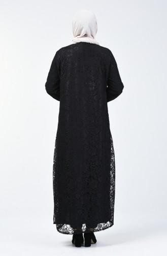 Büyük Beden Dantel Kaplama Abiye Ferace 0390-01 Siyah