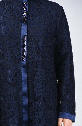 Grosse Grösse Spitzen Abendkleid Abaya 0390-02 Dunkelblau 0390-02