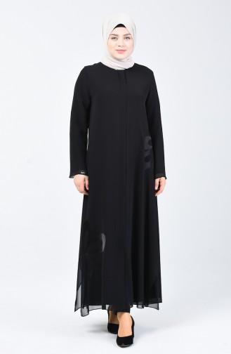 Büyük Beden Abiye Ferace 8049-01 Siyah