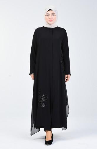 Abaya de Soirée Grande Taille 8049A-01 Noir 8049A-01