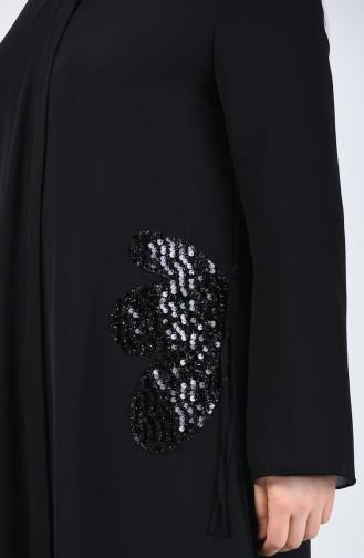 Büyük Beden Abiye Ferace 8049A-01 Siyah