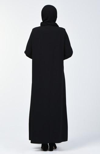 Büyük Beden Taş Baskılı Ferace 9180-02 Siyah