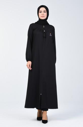 Fermuarlı Ferace 99251-01 Siyah