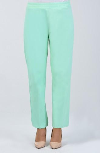 Beli Lastikli Düz Paça Pantolon 3151PNT-01 Su Yeşili
