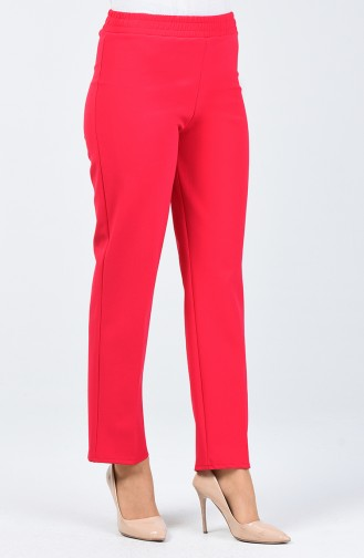 Elastische Taille Hose 3153PNT-01 Dunkel Fuchsia 3153PNT-01