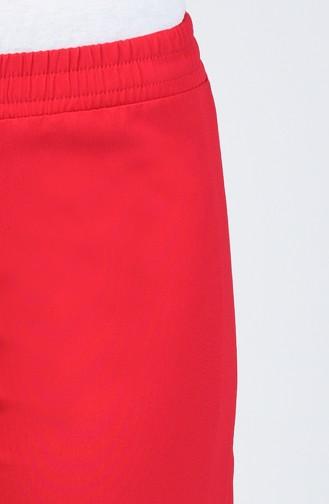 Beli Lastikli Düz Paça Pantolon 3159PNT-01 Bordo