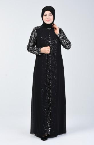 Büyük Beden Payetli Abiye Elbise 1315-01 Siyah Gümüş