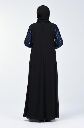 Büyük Beden Payetli Abiye Elbise 1315-02 Siyah Saks 1315-02