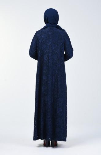 Büyük Beden Simli Abiye Elbise 6004A-01 Lacivert 6004A-01
