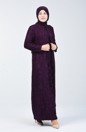 Büyük Beden Simli Abiye Elbise 6004A-02 Mor