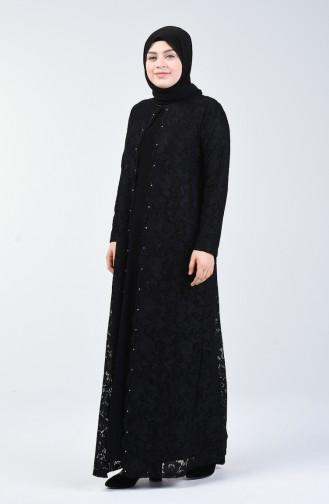 Büyük Beden Simli Abiye Elbise 6004A-03 Siyah