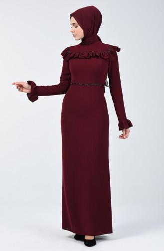 Taş Baskılı Abiye Elbise 5256B-04 Koyu Bordo