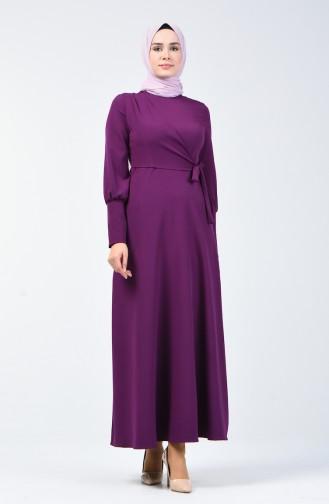 Yandan Bağlamalı Elbise 2712-04 Mor