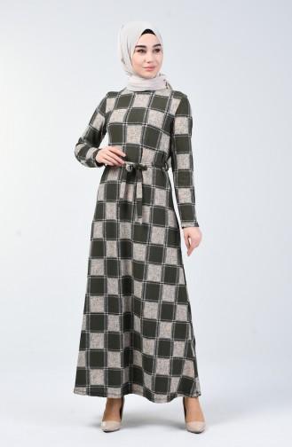 Desenli Kuşaklı Elbise 0348-01 Haki
