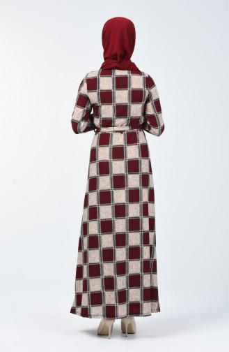 Desenli Kuşaklı Elbise 0348-02 Bordo