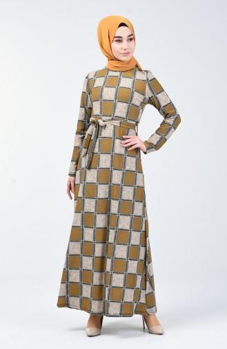 Desenli Kuşaklı Elbise 0348-03 Hardal