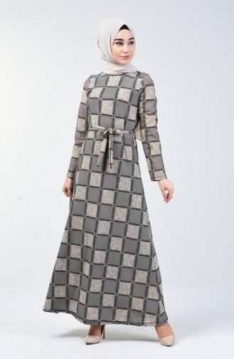 Desenli Kuşaklı Elbise 0348-04 Pudra