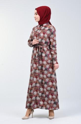 Gemustertes Viskose Kleid  0356-02 Lilafarbig 0356-02