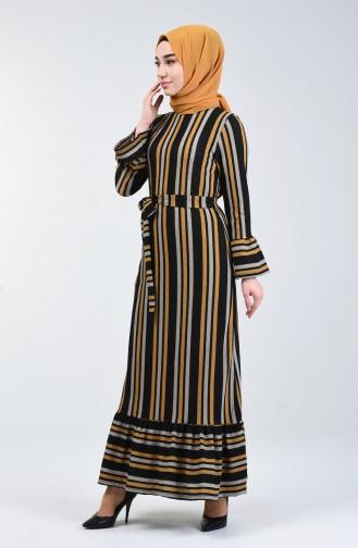 Çizgili Elbise 0357-04 Hardal