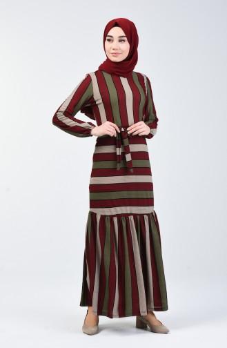 Çizgili Elbise 0358-02 Bordo 0358-02