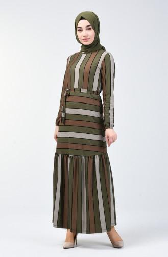 Çizgili Elbise 0358-03 Haki
