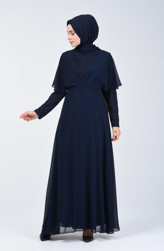 Simli Şifon Elbise 1410-01 Lacivert