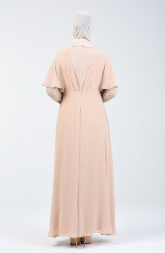 Simli Şifon Elbise 1410-04 Karamel