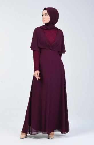 Simli Şifon Elbise 1410-05 Mürdüm