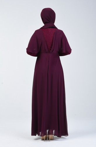 Silbernes Chiffon Kleid 1410-05 Zwetschge 1410-05