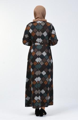 Büyük Beden Desenli Kuşaklı Elbise 4829-01 Kahverengi Petrol