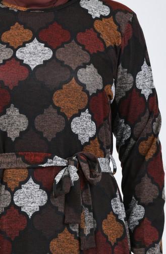 Büyük Beden Desenli Kuşaklı Elbise 4829-02 Kahverengi Kiremit