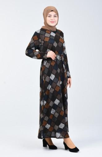 Büyük Beden Desenli Kuşaklı Elbise 4829-03 Kahverengi Lacivert