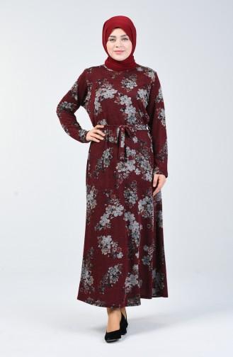 Büyük Beden Desenli Kuşaklı Elbise 4829A-02 Bordo