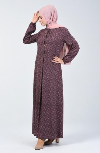فستان فيسكوز بأكمام مطاط مطوي بطية A بني داكن وزهري 4535-02