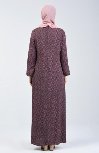 A Plissee Viskose Kleid  4535-02 Dunkel Braun Pink 4535-02