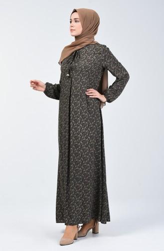 A Plissee Viskose Kleid 4535-05 Khaki 4535-05