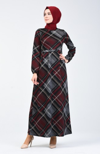Desenli Elbise 5302-01 Siyah Bordo