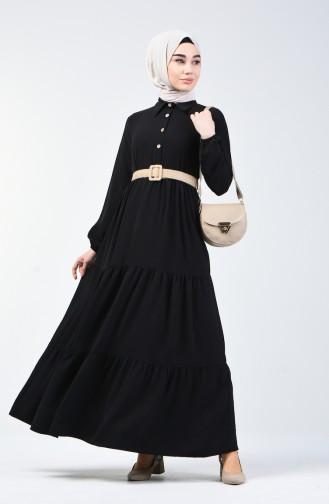 Aerobin Kumaş Kemerli Elbise 5483-01 Siyah